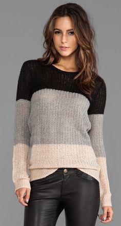 10 CROSBY DEREK LAM - Crew Neck Sweater in Grey/Nude/Black - Revolve Clothing