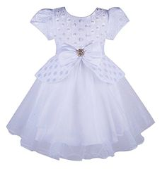 Beyougo Little and Big Girls Multilayers Party Dress with Bow Rhinestones and Pearl(WHITE,Y4-5) ** Details can be found by clicking on the image.