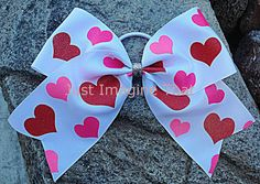 Texas Sized Valentine Glitter Hearts Cheer Bow by JustImagineThatBows