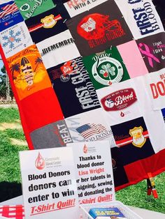 Congratulations to Karen Sprague of Jackson Center - lucky winner of the CBC t-shirt quilt, celebrating Shelby County Blood Donor Appreciation Day July 30 at the Shelby County Fair. More than 70 people came to the CBC tent & registered for the drawing to win the amazing t- shirt quilt. It was designed/created & donated by donor Lisa Wright. The quilt was shown at Honda of America where Lisa regularly donates.