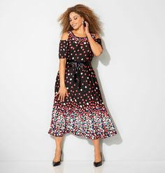 Shop dresses with pretty dot prints like our new plus size Dotted Cold Shoulder Midi Dress available in sizes 14-32 online at avenue.com. Avenue Store
