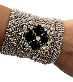 Sg Liquid Metal Bracelet Silver Mesh Wide Cuff Onyx Zirconia By Sergio Gutierrez Pr B2