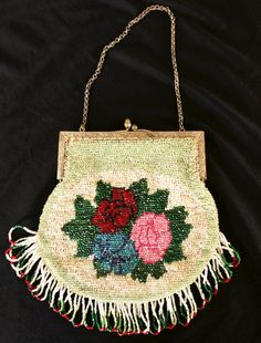 Early 20th Century Beaded Handbag. It is in wonderful condition, with not a tear or a missing bead to be seen. By YardSaleDream on Etsy