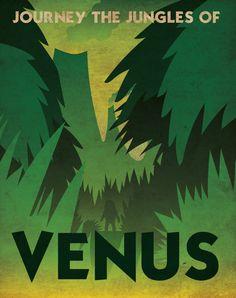 Venus Retro Planetary Travel Poster by Justonescarf on Etsy