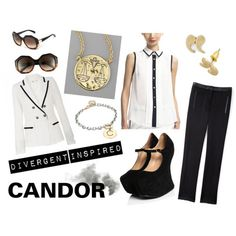 Candor is all about the suit and black & white. Tuxedo pants and modern mary-janes paired with black and white shirt and jacket. Signature scales and quote earrings. I thought that really fitting as Candor is all about the blunt truth too. Vintage inspired glasses give this modern look a softer edge. (via Divergent Trilogy Inspired - Candor)