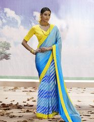 Viva N Diva Shaded Blue Color Satin Jacquard & Georgette Saree.
