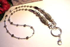 Lanyard Beaded lanyard 28 lanyard key ring by HeavenlyTreasuresLG
