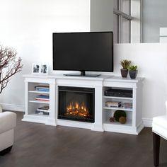 Real Flame Fresno White Entertainment Center Electric 71.73 Inch Fireplace  (Fresno Electric Fireplace By Real Flame  White)