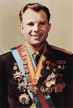 Yuri Gagarin (Russian pilot cosmonaut  first  human to journey into outer space. His space craft the Vostok space craft completed an orbit on April 12, 1961. Awarded Hero of the Soviet Union which is Russia's greatest honor.