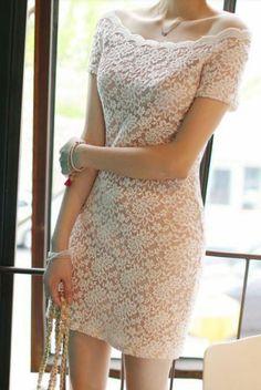 White sleeve lace dress