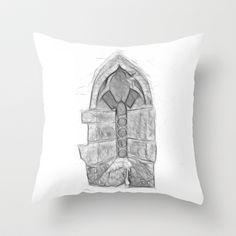 Medieval Church Window Throw Pillow by Rainer Steinke - $20.00 church window drawing pencil bleistift zeichnung fenster kirche mittelalter medieval #church #window #drawing #pencil #bleistift #zeichnung #fenster #kirche #mittelalter #medieval
