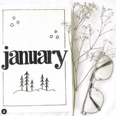 January Bullet Journal Cover Page Ideas - The Smart Wander Bullet Journal Tracker, December Bullet Journal, Bullet Journal Cover Ideas, Bullet Journal Lettering Ideas, Bullet Journal Notebook, Bullet Journal Themes, Journal Covers, Bullet Journal Homework, Bullet Journal Index Page
