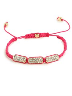Pretty pave bars in a row are just the right embellishment for a bright cord bracelet with pop.