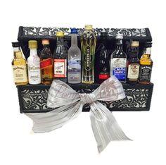 The Executive Mini Bar Gift Basket, Mini Bar Gift Basket, Mini Bar Box, Mini Liquor Gift, Shot Bottl Alcohol Gift Baskets, Liquor Gift Baskets, Wine Country Gift Baskets, Gift Baskets For Women, Alcohol Gifts, Wine Baskets, Basket Gift, Fundraiser Baskets, Raffle Baskets