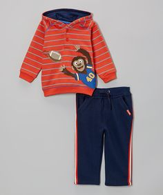 Take a look at this Watch Me Grow Dark Orange Stripe Monkey Hoodie & Blue Pants - Infant on zulily today!