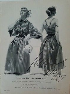 College Shop, Claire Trevor, Claire Mccardell, Lady Stockings, Lord & Taylor, Print Ads, Vintage Ads, Vintage Fashion, Statue