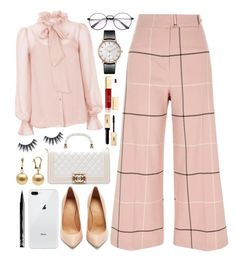 A fashion look from November 2017 featuring rose shirt, tall pants and heel pump. Temperley, Nyx, River Island, Preppy, Polyvore Fashion, Yves Saint Laurent, Chanel, London, Clothing