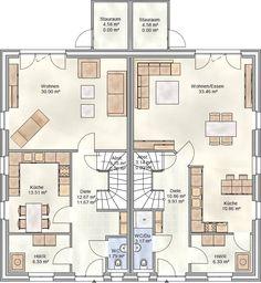 das doppelhaus aura 125 grundriss erdgeschoss ihr town country massivhaus. Black Bedroom Furniture Sets. Home Design Ideas