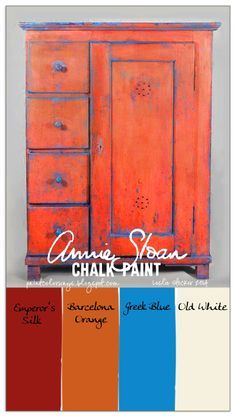 ASCP - Mix and layer a little Emperor's Silk with Barcelona Orange over Greek Blue. Old White lightens each of the colors and is dabbed on for texture and highlights. Annie Sloan Chalk Paint makes this an incredibly easy technique for a vintage, distressed style.