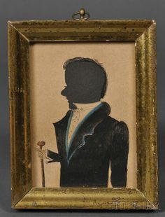 Silhouette Portrait of a Gentleman with a Walking Stick | Sale Number 2558M, Lot Number 455 | Skinner Auctioneers