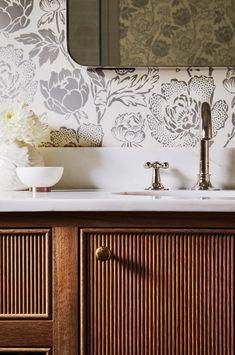 Reeded bathroom vanity by Katie Rosenfeld Bathroom Inspo, Bathroom Wall, Bathroom Inspiration, Interior Inspiration, Bathroom Ideas, Master Bathroom, Bathroom Trends, Design Bathroom, Washroom