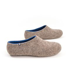 683b18874 Blue felted slippers from the DUAL NATURAL Wooppers Collection. Beautiful  house clogs in natural wool