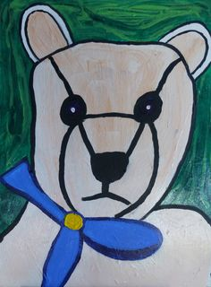 Bear with blue bow.
