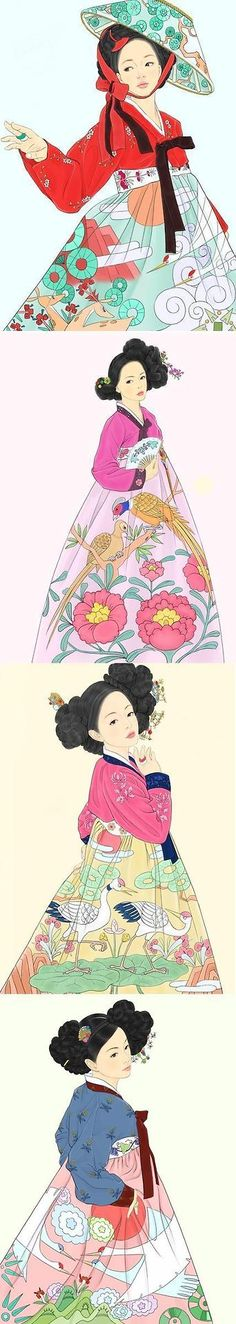 Hanbok art. So beautiful. Love the hair pieces too! (though I suppose it wasn't lovely to wear all that hair!)