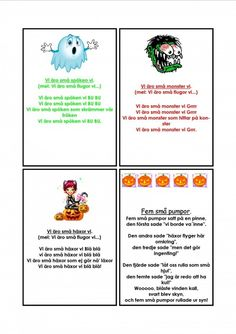 Halloween sångkort. Preschool, Songs, Education, Kids, Musik, Young Children, Boys, Kid Garden, Children