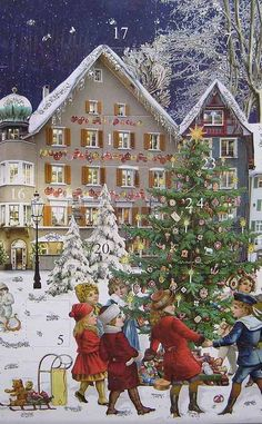 Advent calendar from Germany Christmas Card Crafts, Christmas Printables, Christmas Art, Christmas Holidays, Old World Christmas, Victorian Christmas, Vintage Christmas Images, Christmas Pictures, German Advent Calendar