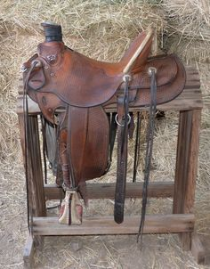 """15 1/2"""" Custom Made Dave Clowes Wade Saddle for Sale - For more information click on the image or see ad # 35857 on www.RanchWorldAds.com-SR"""