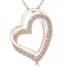 0.36 Carat F-SI Diamond Double Heart Pendant Necklace in 14k Rose Gold