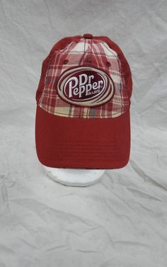 dc7dfe738ef Dr Pepper Hat Plaid Soda Pop Seven Up Strapback Cap Dad Hat  DrPepper   DadHat
