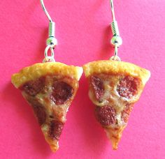 Pepperoni Pizza Earrings by LittleSweetDreams.deviantart.com on @deviantART