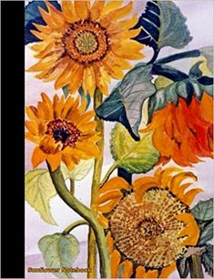 Sunflower Notebook Flower College Ruled Composition Book Journal - Floral Softcover Perfect Bound, Lined 100 pages (50 Sheets), 9 3/4 x 7 1/2 inches  - undated college lined journal,  large size,