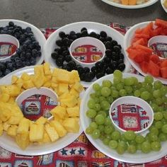 "A healthy, delicious idea for an Olympic party at school! Use Olympic ring-shaped platters to serve a colorful selection of fruit or vegetables. Gold ""medal"" stickers can be awarded for students who try each type of fruit!"