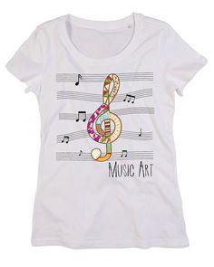 T-shirt Personalizzate Donna Girocollo Cotone Organico MUSIC ART
