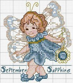 Toddler Birthstone Fairy September Sapphire Cross Stitch Pattern 3/5