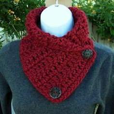 NECK WARMER SCARF.. Solid Dark Deep Red, Large Wooden Buttons..Super Soft..Crochet Knit Buttoned Cowl Scarflette..Ready to Ship in 2 Days on Etsy, $15.00