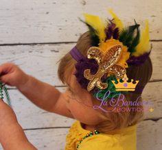 Fleur De Lis Shabby Chic Mardi Gras Feather by LaBandeauxBowtique, $15.00
