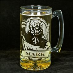 NEW!  Personalized Bear & Beer Stein, Present Gift for Groomsman Beer Mug, Grizzly Bear