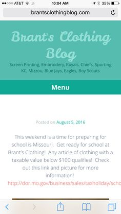 Check out the new blog post!  Brantsclothingblog.com!  Back to School Sales Tax Holiday!  #brantsclothing
