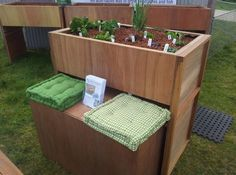 Aquaponics with built in bench seat. Clever!