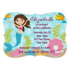 Happy Mermaid Pool Party Invites