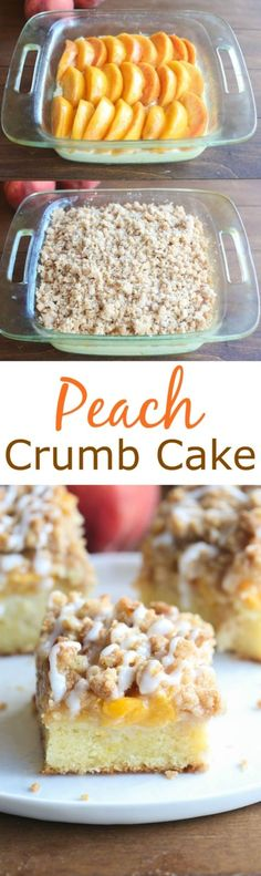 Peach Crumb Cake - a soft and delicious cake layered with fresh peaches and a sweet cinnamon crumb topping. Makes a delicious brunch or serve warm with vanilla ice cream.   Tastes Better From Scratch