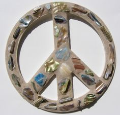 Blue Green Shell Mosaic Peace Sign  Peace Sign by breakitupdesigns