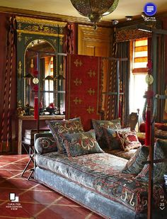I adore this eclectic room with its eye appeal and comfortable feel.