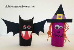 manualidad infantil de halloween con rollos papel