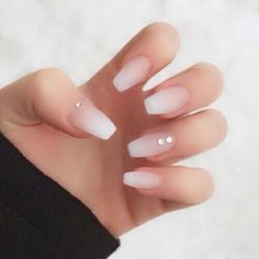 Simple Rhinestone French Manicure- Ombre Nails