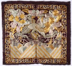 Chinese Embroidered Female 5th Rank Badge with Silver Pheasant, late Qing.